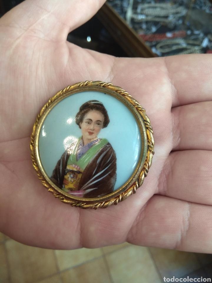 Joyeria: Antiguo Broche Porcelana Limoges Pintado a Mano - Geisha - - Foto 4 - 164706569