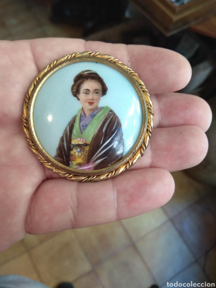 Joyeria: Antiguo Broche Porcelana Limoges Pintado a Mano - Geisha - - Foto 6 - 164706569