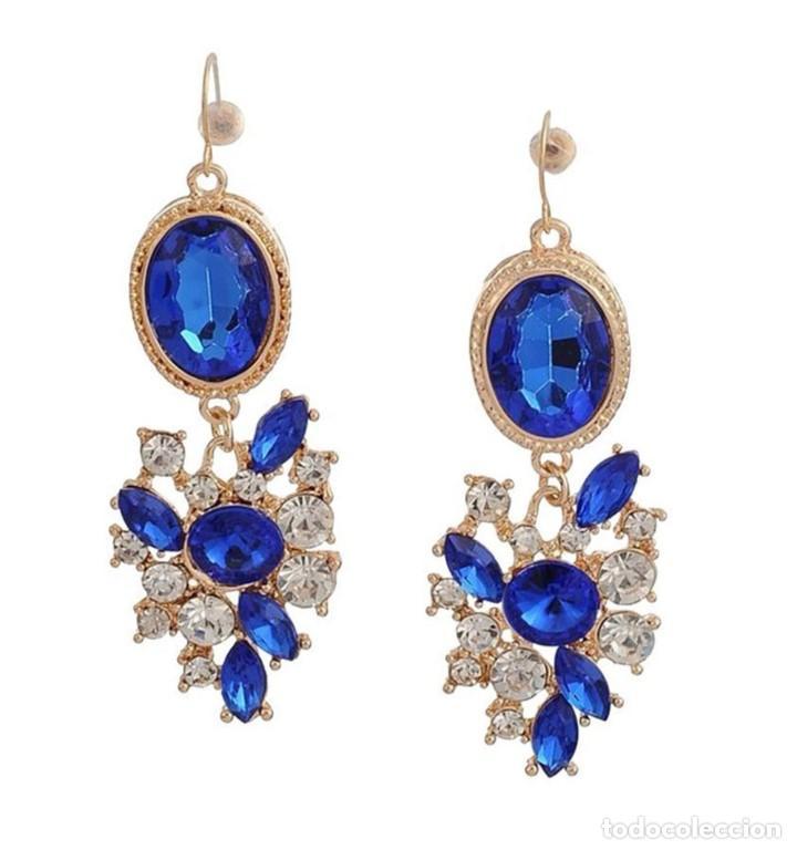 Joyeria: Elegantes Pendientes chapados en oro 18K con zafiros azules y circonitas - Foto 2 - 164745338