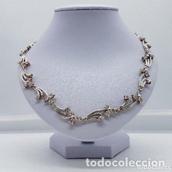 Joyeria: Antigua gargantilla en plata de ley contrastada de eslavones y circonitas talla brillante engarzadas - Foto 2 - 165039902
