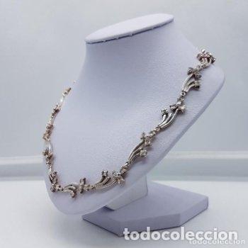 Joyeria: Antigua gargantilla en plata de ley contrastada de eslavones y circonitas talla brillante engarzadas - Foto 3 - 165039902