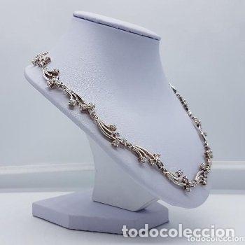 Joyeria: Antigua gargantilla en plata de ley contrastada de eslavones y circonitas talla brillante engarzadas - Foto 4 - 165039902