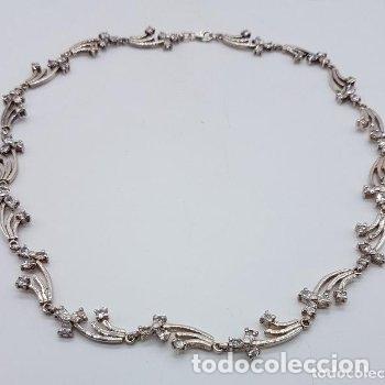 Joyeria: Antigua gargantilla en plata de ley contrastada de eslavones y circonitas talla brillante engarzadas - Foto 5 - 165039902