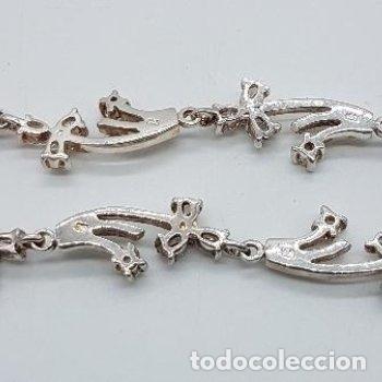 Joyeria: Antigua gargantilla en plata de ley contrastada de eslavones y circonitas talla brillante engarzadas - Foto 6 - 165039902