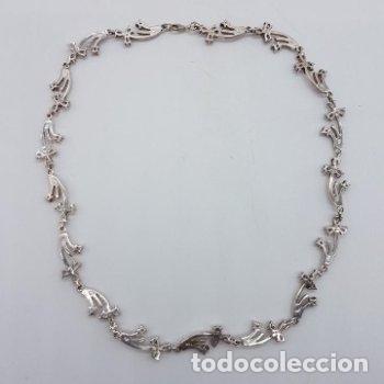Joyeria: Antigua gargantilla en plata de ley contrastada de eslavones y circonitas talla brillante engarzadas - Foto 7 - 165039902