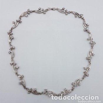 Joyeria: Antigua gargantilla en plata de ley contrastada de eslavones y circonitas talla brillante engarzadas - Foto 9 - 165039902