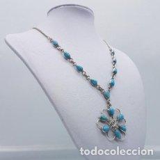Jewelry - Bella gargantilla vintage en plata de ley contrastada y cabujones talla lágrima en azul turquesa . - 165056670