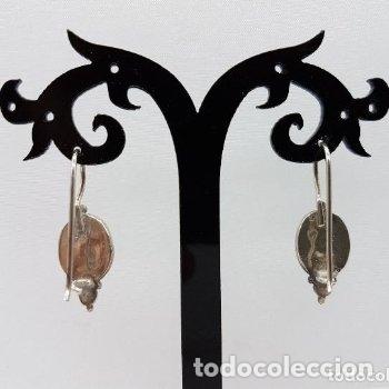Joyeria: Preciosos pendientes de estilo antiguo en plata de ley contrastada con lapislázuli incrustados. - Foto 5 - 165303050