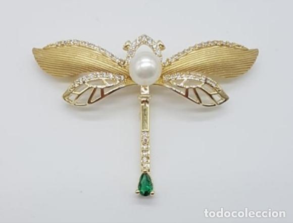 Joyeria: Broche de lujo estilo art decó con acabado en oro de 18k, circonitas, turmalina talla pera y perla . - Foto 2 - 199755152