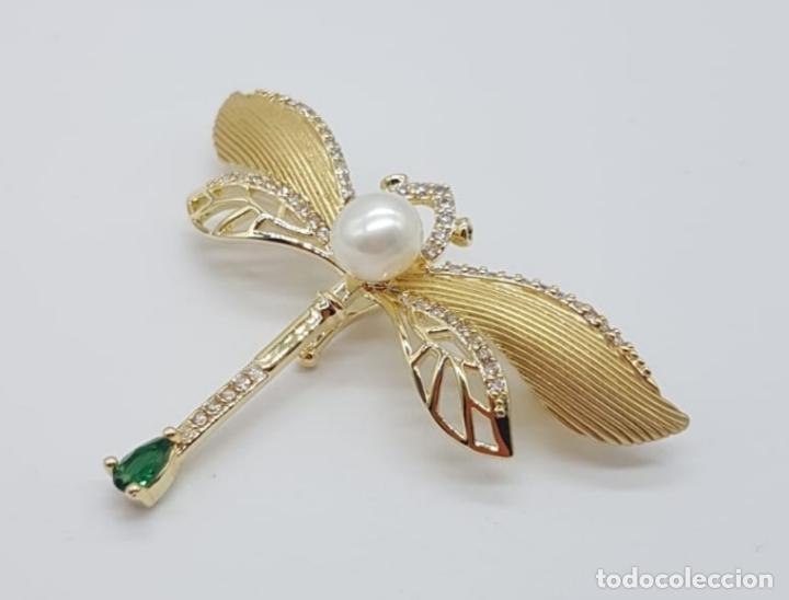 Joyeria: Broche de lujo estilo art decó con acabado en oro de 18k, circonitas, turmalina talla pera y perla . - Foto 3 - 199755152