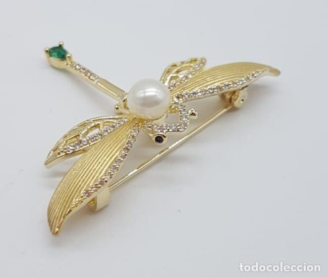 Joyeria: Broche de lujo estilo art decó con acabado en oro de 18k, circonitas, turmalina talla pera y perla . - Foto 4 - 199755152