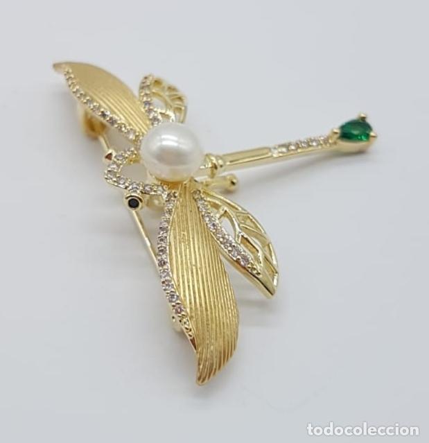 Joyeria: Broche de lujo estilo art decó con acabado en oro de 18k, circonitas, turmalina talla pera y perla . - Foto 5 - 199755152