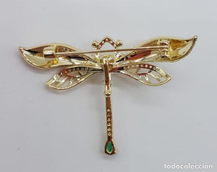 Joyeria: Broche de lujo estilo art decó con acabado en oro de 18k, circonitas, turmalina talla pera y perla . - Foto 6 - 199755152