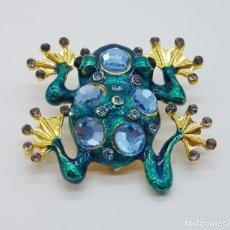 Joyeria - Magnífico broche de rana de diseño modernista con acabado en oro, esmaltes y pedrería . - 165425118