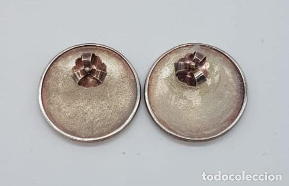 Joyeria: Originales pendientes de diseño tipo botón de gran tamaño en plata de ley mate . - Foto 4 - 165427242