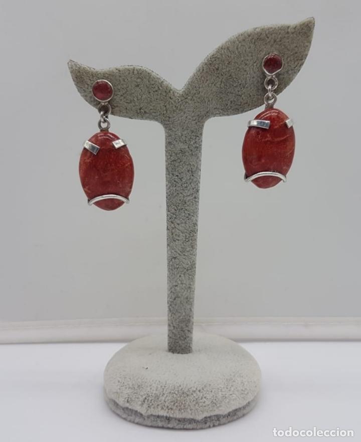 Joyeria: Pendientes antiguos en plata de ley con cabujones de coral . - Foto 2 - 165428754