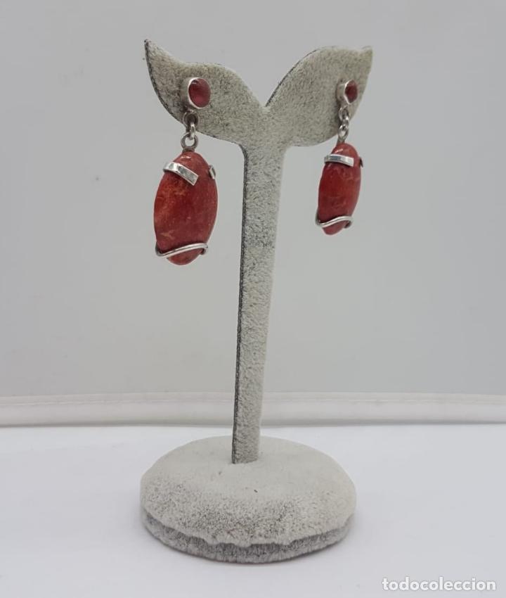 Joyeria: Pendientes antiguos en plata de ley con cabujones de coral . - Foto 3 - 165428754