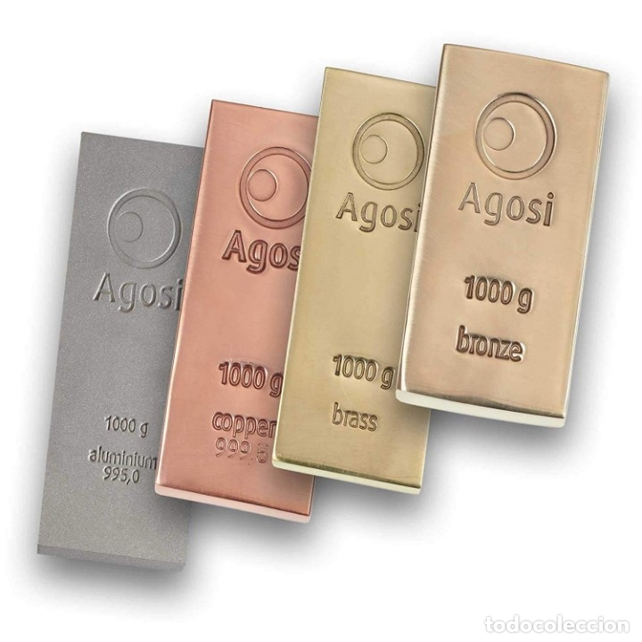 Joyeria: Set de 4 lingotes de 1kg de bronce, cobre, aluminio y latón, fabricados por refinería alemana Agosi - Foto 7 - 154804409