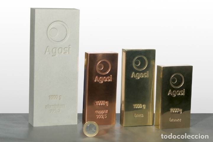 Joyeria: Set de 4 lingotes de 1kg de bronce, cobre, aluminio y latón, fabricados por refinería alemana Agosi - Foto 10 - 154804409