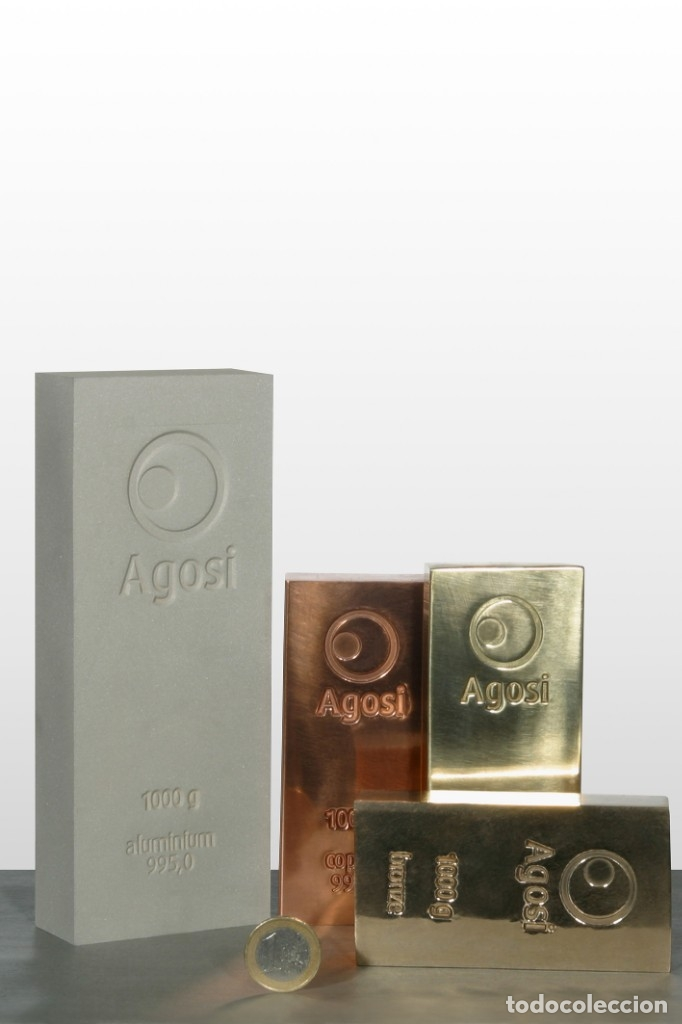 Joyeria: Set de 4 lingotes de 1kg de bronce, cobre, aluminio y latón, fabricados por refinería alemana Agosi - Foto 9 - 154804409