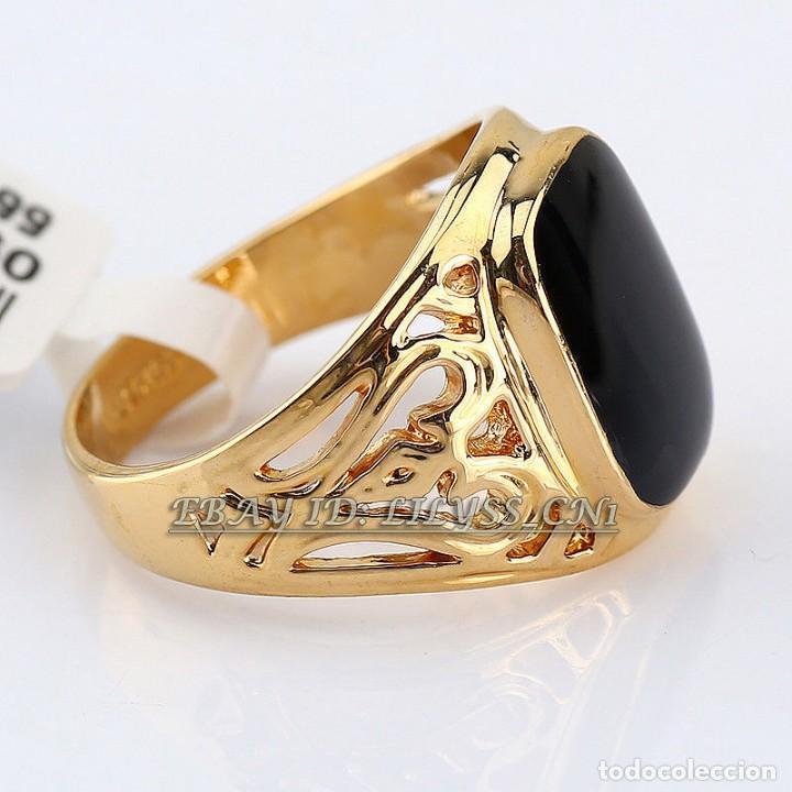 recoger 070cb c6f21 Anillo de oro laminado con piedra onyx negra .Talla 9 ..19 mm.