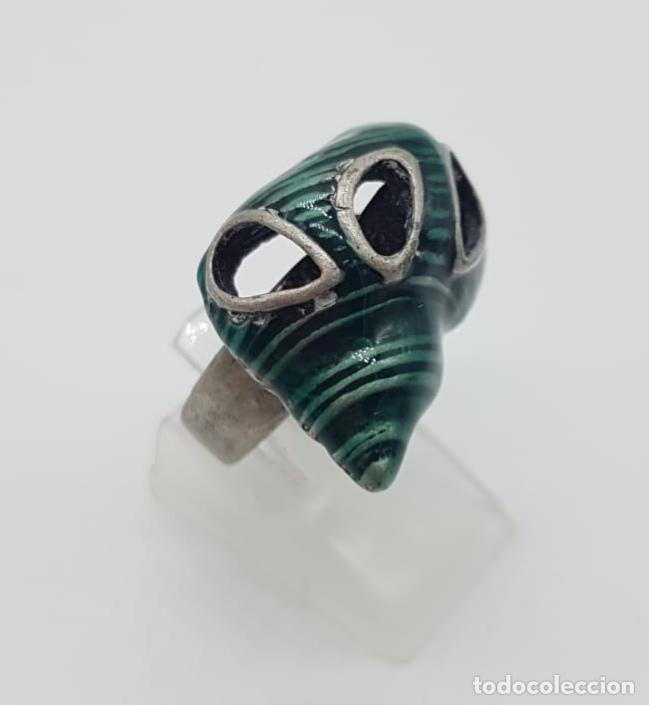 Joyeria: Original anillo de caracola con acabado en plata vieja y esmaltes color verde malaquita . - Foto 4 - 165872634