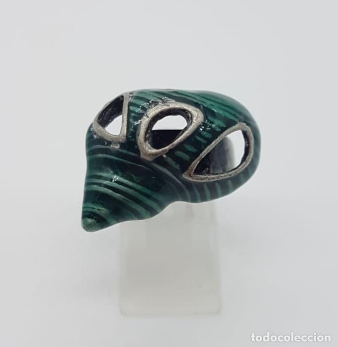 Joyeria: Original anillo de caracola con acabado en plata vieja y esmaltes color verde malaquita . - Foto 5 - 165872634
