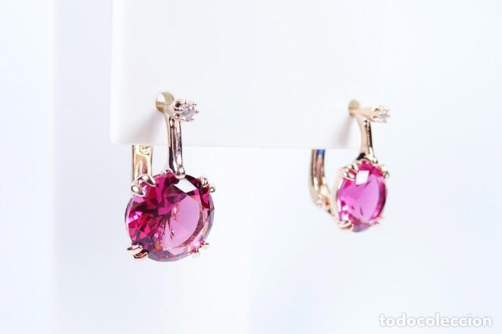 Joyeria: Pendientes en oro rosa 14k con granate y diamante - Foto 2 - 184382506