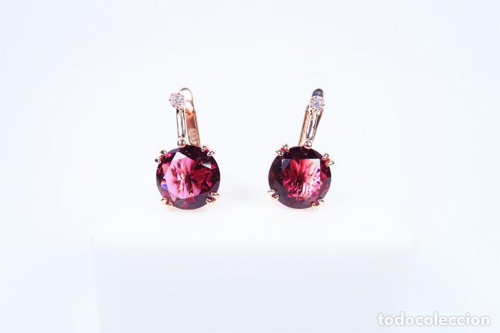 Joyeria: Pendientes en oro rosa 14k con granate y diamante - Foto 3 - 184382506