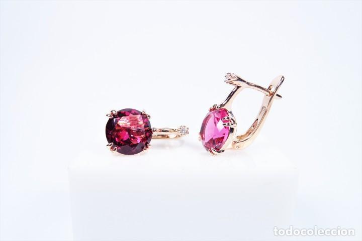 Joyeria: Pendientes en oro rosa 14k con granate y diamante - Foto 4 - 184382506