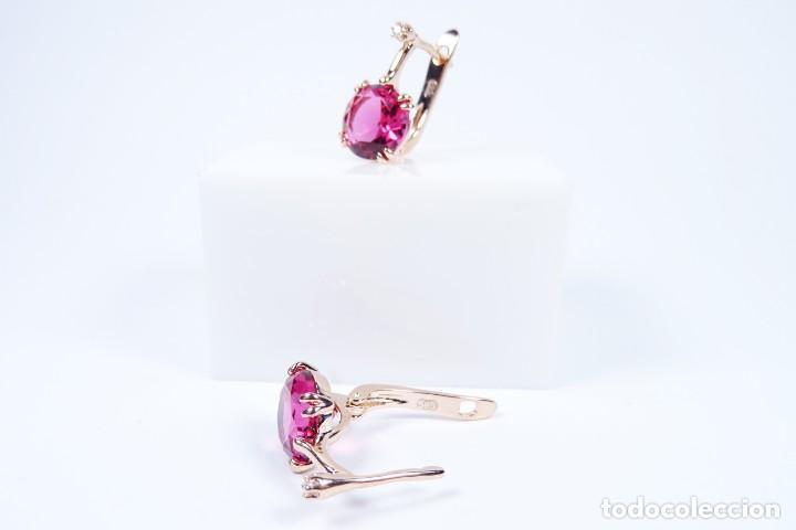 Joyeria: Pendientes en oro rosa 14k con granate y diamante - Foto 5 - 184382506