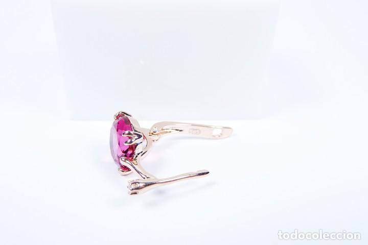 Joyeria: Pendientes en oro rosa 14k con granate y diamante - Foto 6 - 184382506