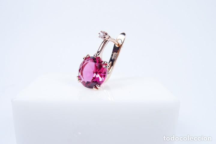 Joyeria: Pendientes en oro rosa 14k con granate y diamante - Foto 7 - 184382506