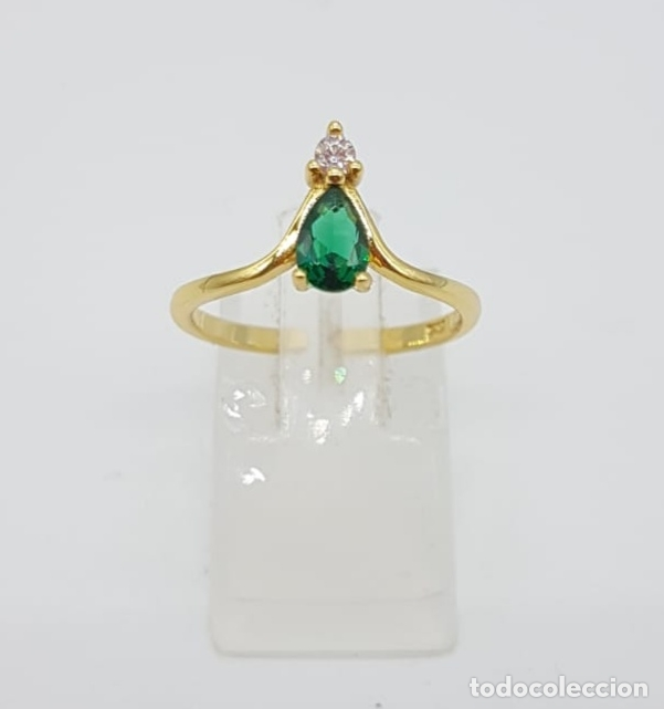 Joyeria: Elegante sortija de pedida de mano en plata de ley, oro 18k, circonita y turmalina verde esmeralda . - Foto 2 - 244471375