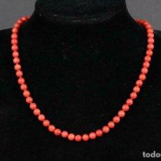 Jewelry - MAGNIFICO antiguo Collar de coral rojo con cierre de plata 925. 43 cm CUENTAS O,6 CM DIAMETRO - 166207790