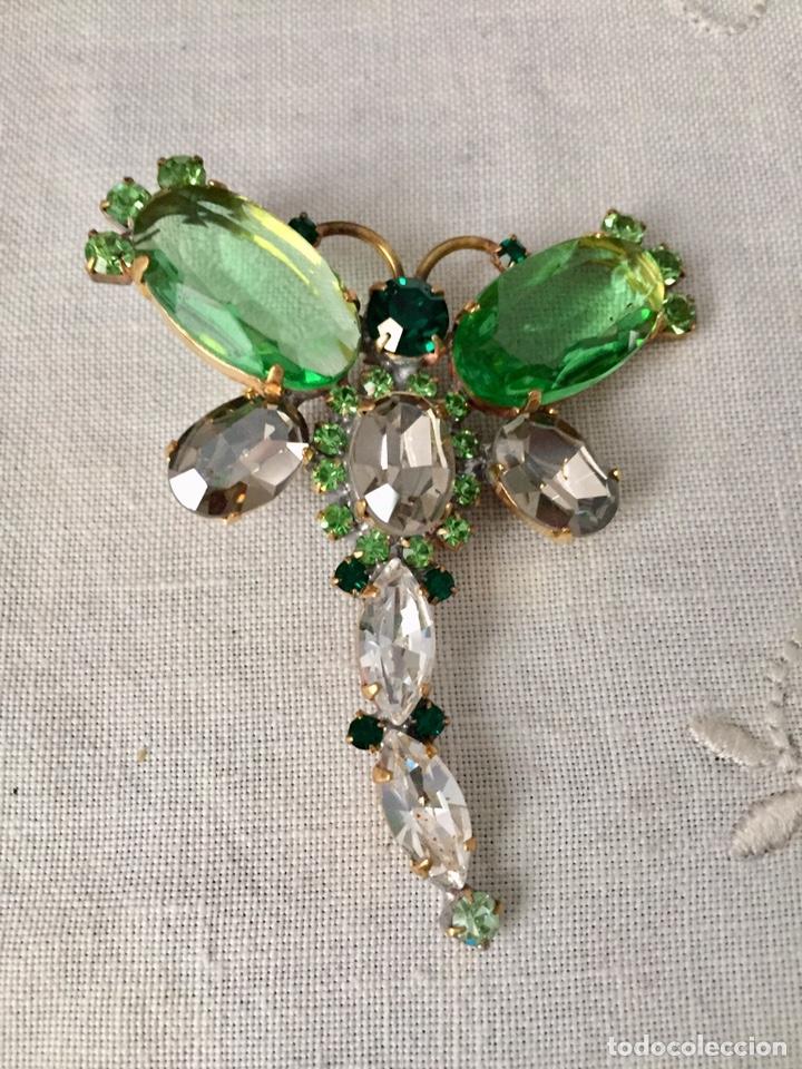 Joyeria: Broche vintage de cristales facetados libelula - Foto 2 - 166643674