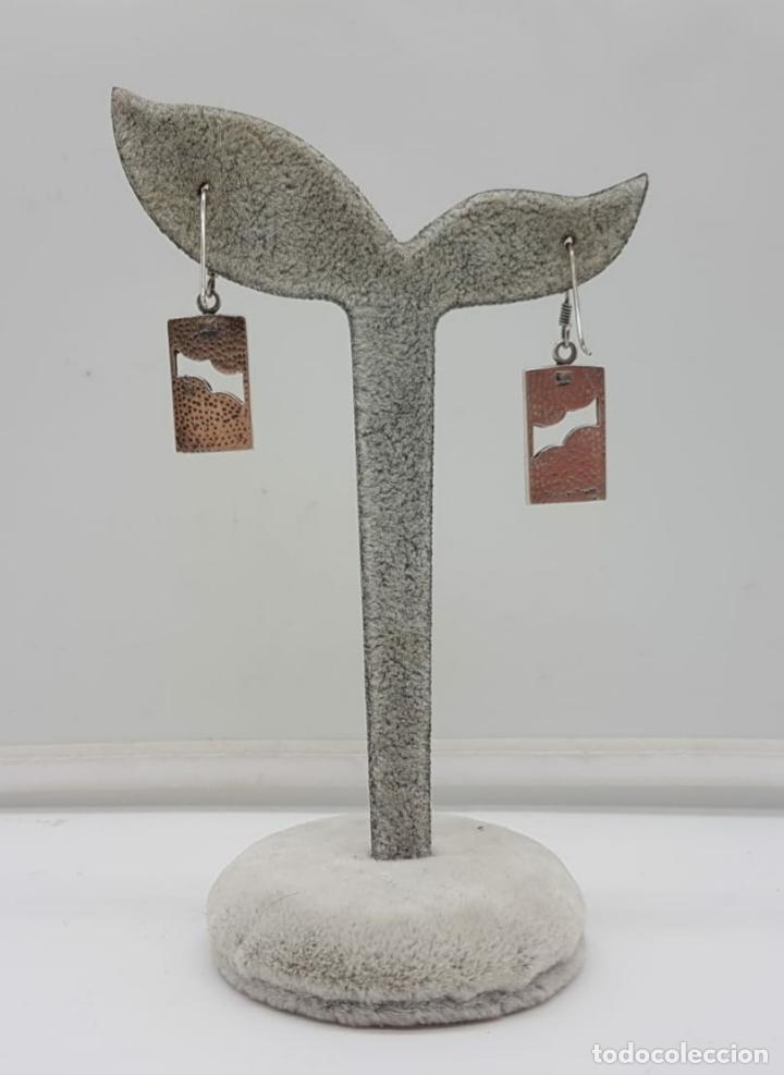 Joyeria: Pendientes vintage en plata de ley contrastada con aplicaciones de madreperla auténtica . - Foto 5 - 166725238