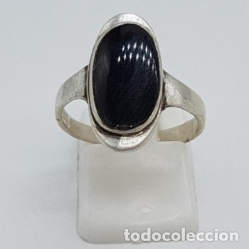 Joyeria: Elegante anillo antiguo de diseño en plata de ley contrastada y cabujón de azabache incrustado. - Foto 2 - 166768630