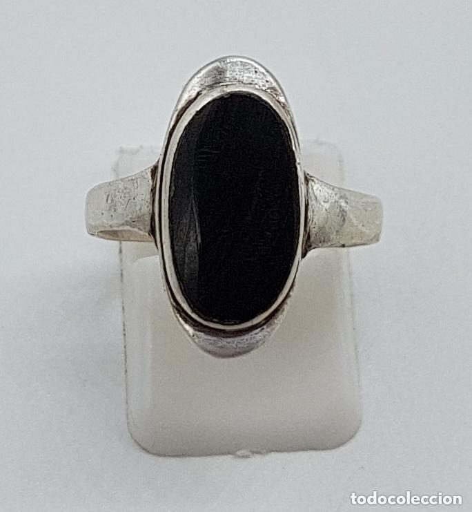 Joyeria: Elegante anillo antiguo de diseño en plata de ley contrastada y cabujón de azabache incrustado. - Foto 4 - 166768630