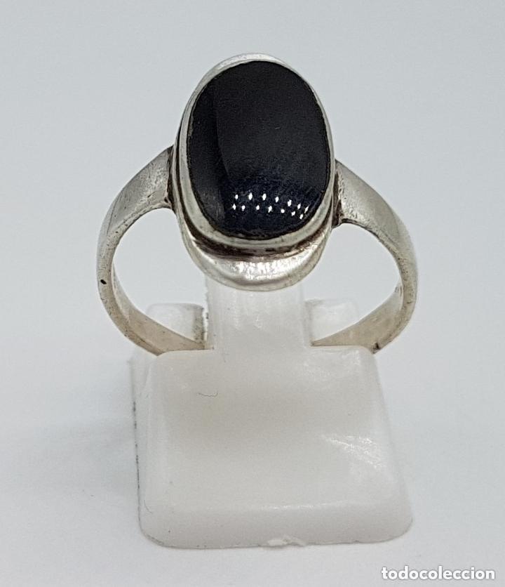 Joyeria: Elegante anillo antiguo de diseño en plata de ley contrastada y cabujón de azabache incrustado. - Foto 5 - 166768630