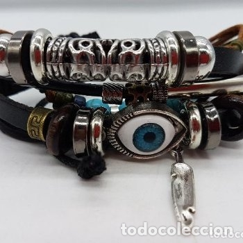 Joyeria: Preciosa pulsera de varias vueltas de cuero con abalorios en bronce y cromado y ojo turco. Ajustable - Foto 5 - 166772794