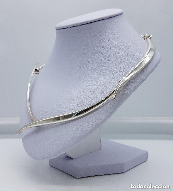 Joyeria: Bella gargantilla antigua de estilo modernista en plata de ley contrastada, es plata maciza. - Foto 2 - 166790978