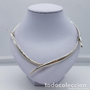 Joyeria: Bella gargantilla antigua de estilo modernista en plata de ley contrastada, es plata maciza. - Foto 3 - 166790978