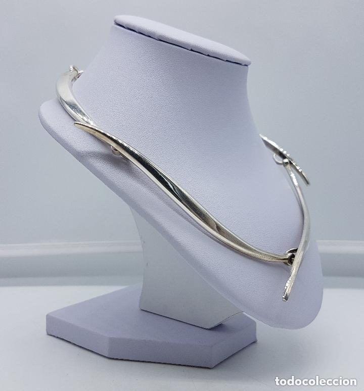 Joyeria: Bella gargantilla antigua de estilo modernista en plata de ley contrastada, es plata maciza. - Foto 5 - 166790978