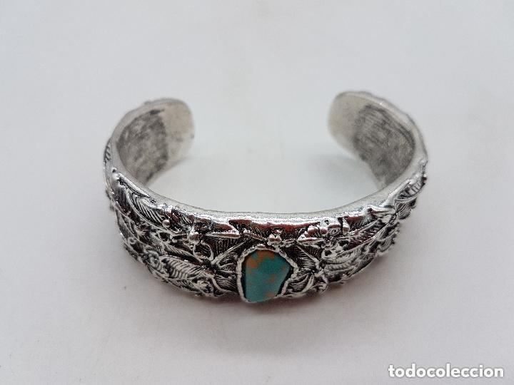 Joyeria: Precioso brazalete vintage de diseño florar en metal plateado. - Foto 3 - 166903920