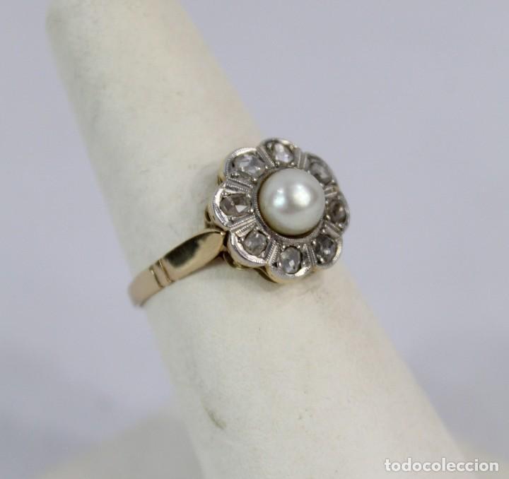 Joyeria: Espectacular anillo rosetón años 1900. Ocho diamantes talla rosa, perla natural. Oro de 18. - Foto 6 - 167247016