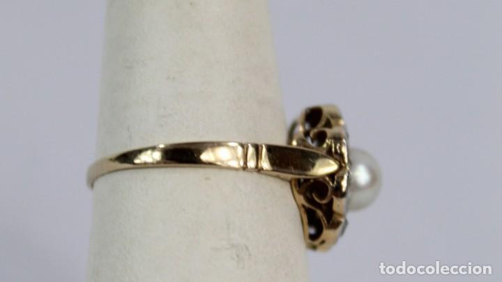 Joyeria: Espectacular anillo rosetón años 1900. Ocho diamantes talla rosa, perla natural. Oro de 18. - Foto 7 - 167247016