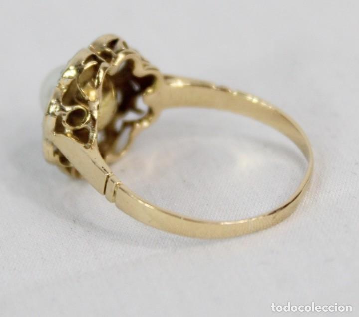 Joyeria: Espectacular anillo rosetón años 1900. Ocho diamantes talla rosa, perla natural. Oro de 18. - Foto 8 - 167247016