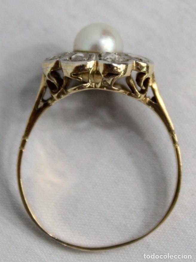 Joyeria: Espectacular anillo rosetón años 1900. Ocho diamantes talla rosa, perla natural. Oro de 18. - Foto 9 - 167247016