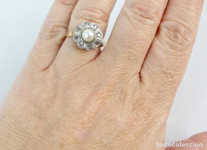 Joyeria: Espectacular anillo rosetón años 1900. Ocho diamantes talla rosa, perla natural. Oro de 18. - Foto 10 - 167247016